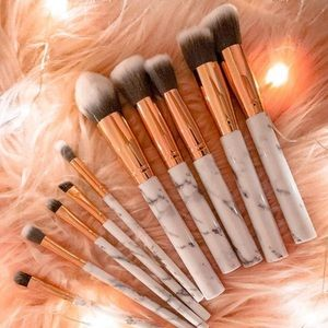 Other - 10 Piece Marble Handle Makeup Brush Set